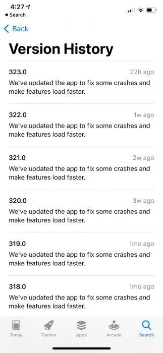 Screenshot of the Facebook iOS changelog